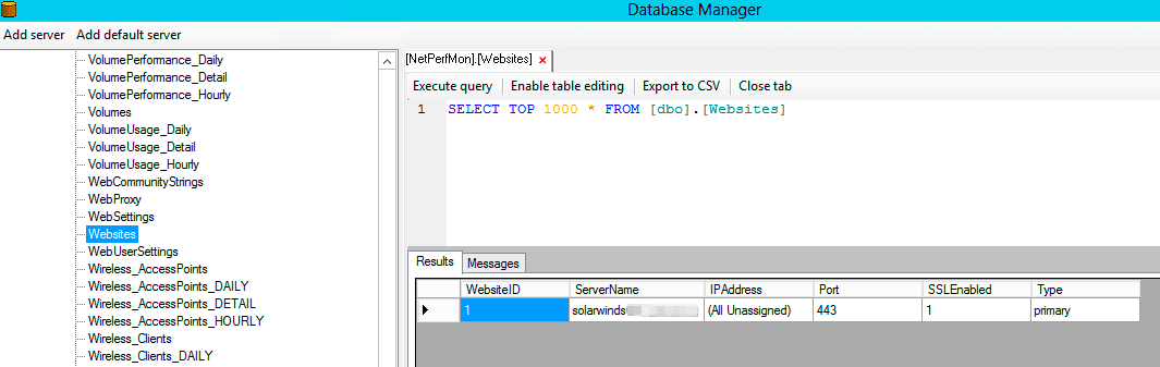 Solarwinds Database Manager