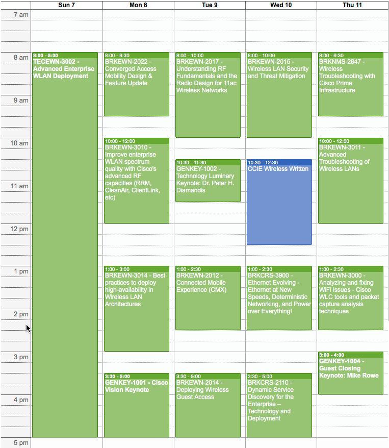 My schedule for Cisco Live